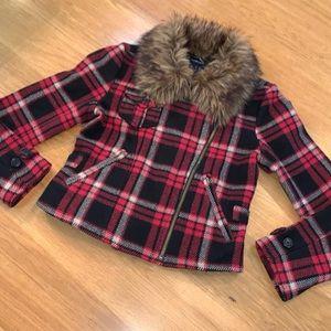 RALPH LAUREN ~Size L 10-12 Berry-Zip Plaid Jacket